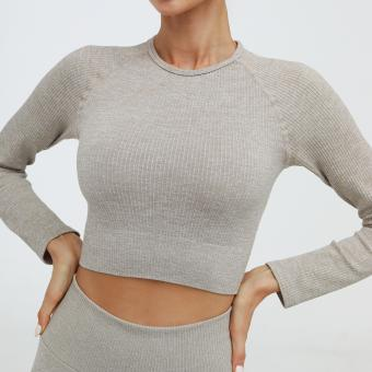 Seamless knit fabric Women seamless crop top leggings
