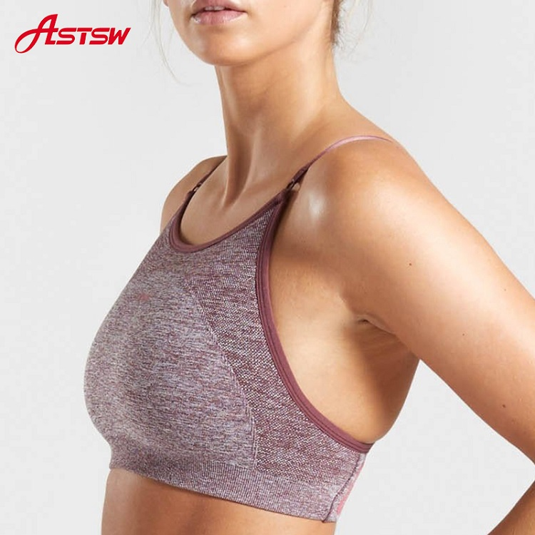 2 Stripes High Neck Work out Bra