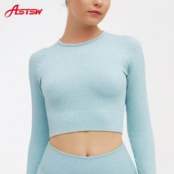 Long Sleeve Scoop Neck Gym Crop Top