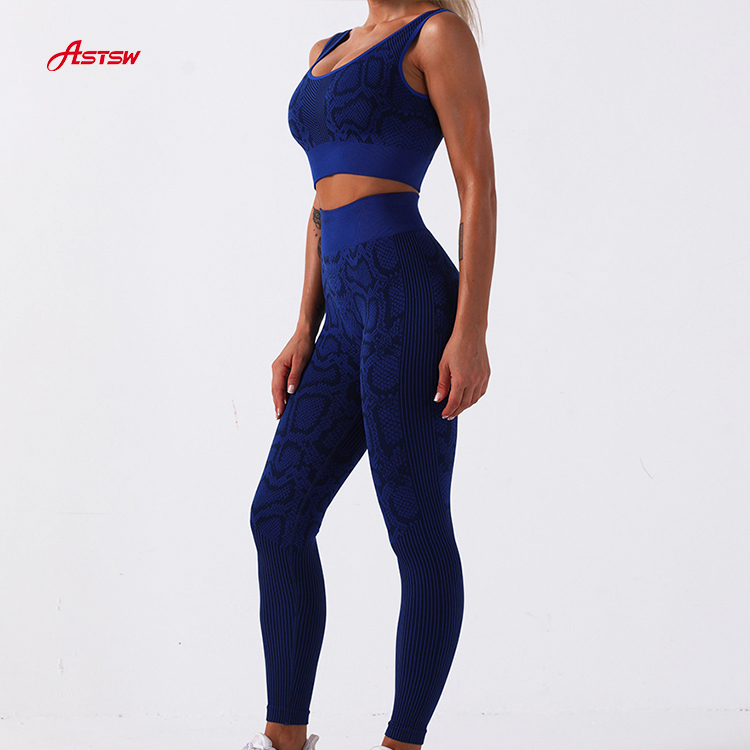 High waist snake pattern seamless pant and bra